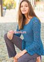 Синий пуловер с фантазийным узором и резинкой. Спицы