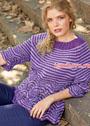 Пуловер-реглан с полосками и волнистым узором. Спицы