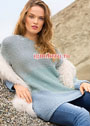 Разноцветный пуловер с плавными переходами цвета. Спицы