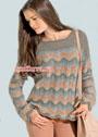Пуловер пастельных оттенков, с волнистым узором. Спицы