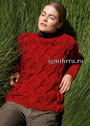 Красный джемпер с косами и крупными ромбами. Спицы