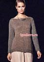 Серо-коричневый с серебристыми вкраплениями пуловер. Спицы