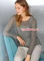 Серый пуловер с сетчатым узором. Спицы