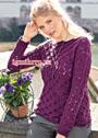 Фиолетовый пуловер с фантазийным узором. Спицы