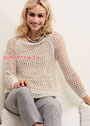 Бежевый пуловер с воздушным сетчатым узором. Спицы