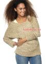 Песочный шелковый пуловер с дырчатым узором. Спицы