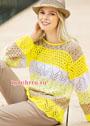 Летний пуловер с сочетанием узоров и цветов. Спицы