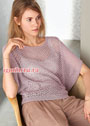 Легкий бледно-розовый пуловер-кимоно. Спицы