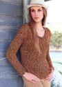 Лаконичный меланжевый пуловер с рельефным узором. Спицы