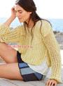Желтый летний пуловер с сетчатым узором. Спицы