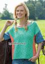Трехцветный летний пуловер с короткими рукавами. Спицы