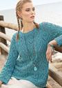 Бирюзовый пуловер с ажурным узором из листьев и ромбов. Спицы