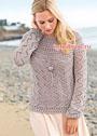 Серо-бежевый ажурный пуловер с круглой кокеткой. Спицы