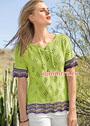 Зеленый пуловер с волнистыми бордюрами. Спицы