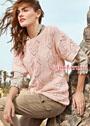 Розовый пуловер с цельновязаными рукавами и ажурным узором. Спицы