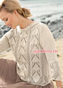 Легкий бежевый пуловер с ажурными структурами. Спицы