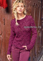 Женственный малиновый пуловер с листочками и шишечками. Спицы