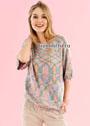 Разноцветный пуловер прямого силуэта. Спицы