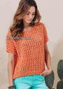 Летний сетчатый пуловер оранжевого цвета. Спицы