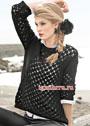 Черный хлопковый пуловер с ажурным узором. Спицы
