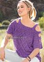 Ажурный фиолетовый пуловер с раздельными бретелями. Спицы
