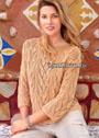 Узорчатый летний пуловер цвета пудры. Спицы