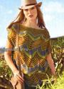 Пуловер цвета джунглей с узором в стиле Миссони. Спицы