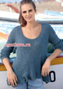 Синий шелковый пуловер с асимметричным низом. Спицы