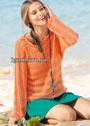 Оранжевый летний пуловер, связанный поперек. Спицы