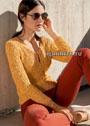 Оранжево-золотистый пуловер из структурной резинки. Спицы