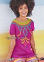 Нарядный летний пуловер с цветочными мотивами. Спицы