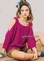 Эффектный пуловер цвета фуксии с открытыми плечами. Спицы