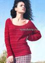 Красный пуловер с фантазийным узором. Спицы