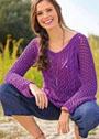 Фиолетовый ажурный пуловер с косами. Спицы