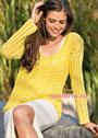 Желтый летний пуловер с ажурными узорами. Спицы