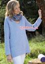 Удлиненный голубой пуловер с узором из вытянутых петель. Спицы