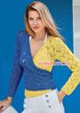 Нарядный сине-желтый пуловер с запáхом. Спицы
