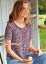 Меланжевый летний пуловер с короткими рукавами. Спицы
