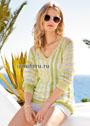Желто-зеленый пуловер со спущенными петлями. Спицы