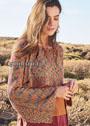 Укороченный меланжевый пуловер с ажурным узором из ракушек. Спицы и крючок