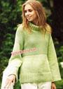 Пуловер салатового цвета с воротником гольф. Спицы