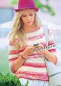 Бело-розовый пуловер с ажурной планкой. Спицы
