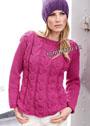 Теплый пуловер цвета цикламена с косами. Спицы