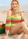 Разноцветный летний пуловер на бретелях. Спицы