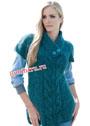 Сине-зеленый мохеровый пуловер с дорожками из кос. Спицы