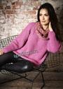 Розовый пуловер-реглан в стиле oversize. Спицы