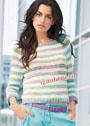 Лаконичный меланжевый пуловер в полоску. Спицы