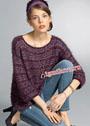 Просторный пуловер с сочетанием разных видов пряжи. Спицы