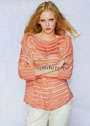 Красно-оранжевый джемпер с полосами фантазийных узоров. Спицы