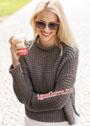 Серо-коричневый теплый пуловер с воротником-стойкой. Спицы